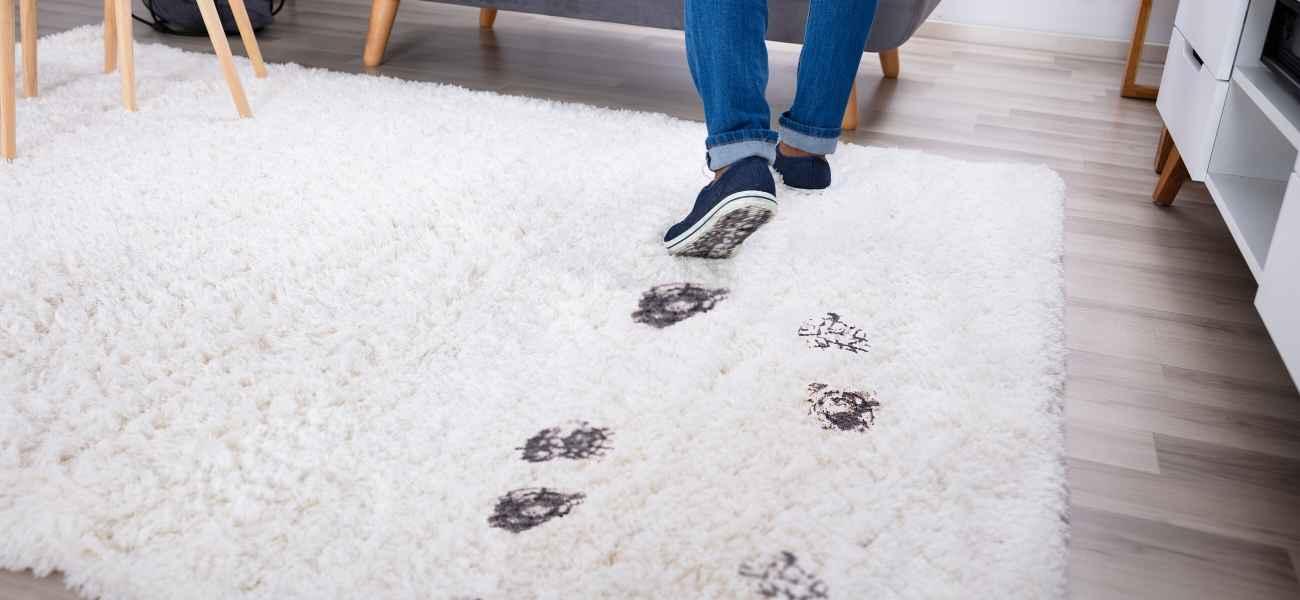 שטיח לבן מלוכלך